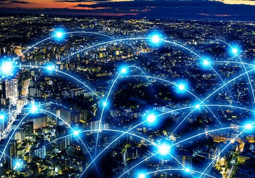 faisceaux de lumière illustrant les réseaux télécoms