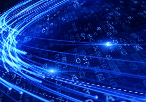 faisceaux de lumière illustrant les réseaux de communication optiques